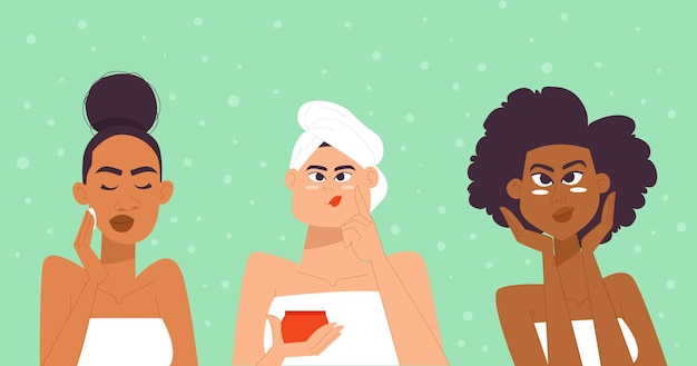 Vrouw huidverzorging routine