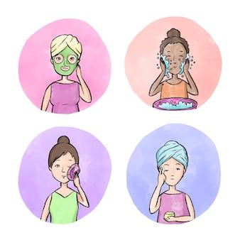 Vrouw huidverzorgingsroutine