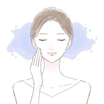 Vrouw hydraterende gezicht. op een witte achtergrond.