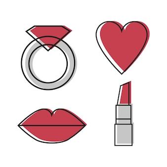 Vrouw iconen vector set van vier symbool - ring, hart, lippen, lippenstift in rode en grijze kleuren - lijn desigh