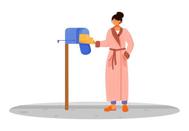 Vrouw in badjas ontvangt post egale kleur illustratie. pakketten ophalen uit brievenbus. bezorgdiensten. nemen van brieven uit persoonlijke brievenbus geïsoleerde stripfiguur op witte achtergrond