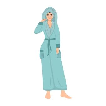 Vrouw in badjas tanden poetsen na douche egale kleur vector anonieme karakter. meisjes ochtend hygiëne routine geïsoleerde cartoon afbeelding voor web grafisch ontwerp en animatie