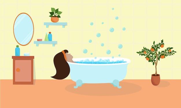 Vrouw in badkuip. badkamer interieur. schoonheidsverzorgingsproducten liggen op het schap en op het nachtkastje. bubbels stijgen op uit het bad. vector illustratie