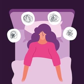Vrouw in bed denken in problemen die lijden aan slapeloosheid characterdesign vector illustratie