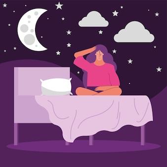 Vrouw in bed met nachtscène die lijden aan slapeloosheid characterdesign vector illustratie