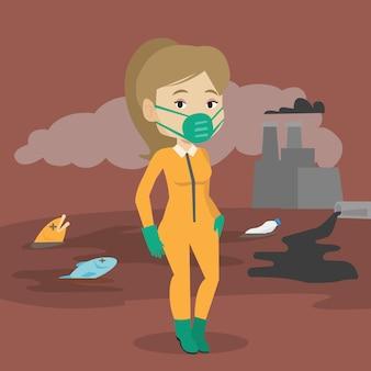 Vrouw in beschermend pak straling.