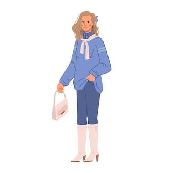 Vrouw in blauwe kleur mode look herfst vogue