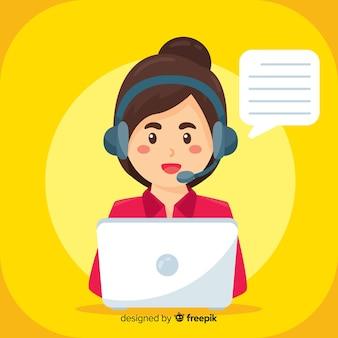 Vrouw in callcenter