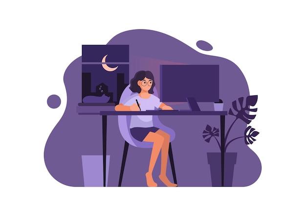 Vrouw in casual kleding die 's nachts op de computer werkt in haar woning, vectorillustratie