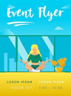 Vrouw in comfortabele houding voor meditatie flyer-sjabloon