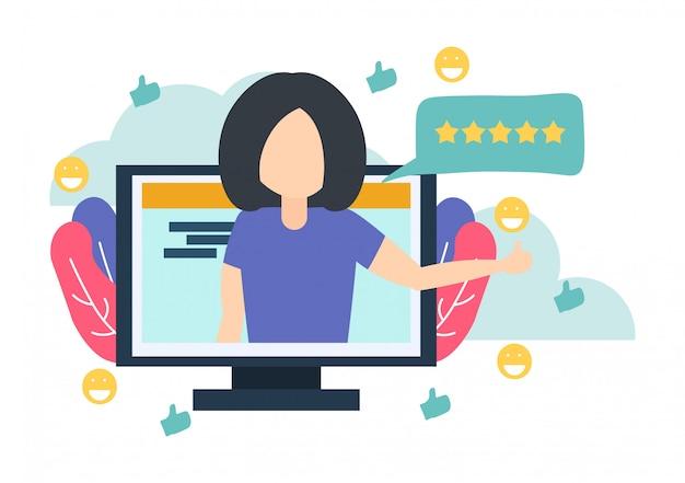 Vrouw in computer vertel goede beoordeling voor online service