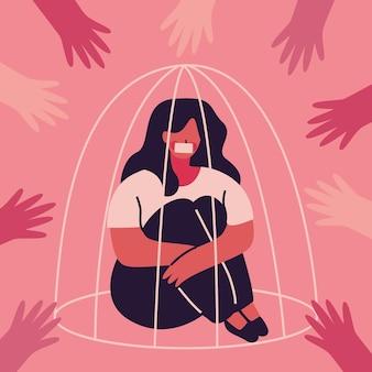 Vrouw in concept van kooi het pro burgerrechten