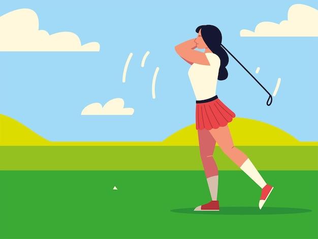 Vrouw in de sportactiviteit van het golfgebied