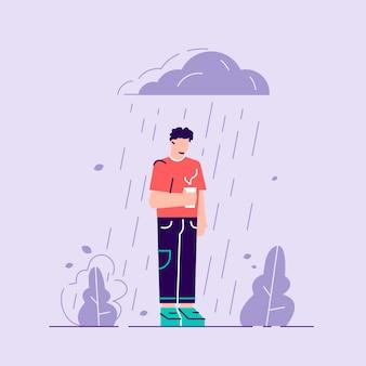 Vrouw in depressie. droevig karakter dat zich onder de regen bevindt. bewolkt weer