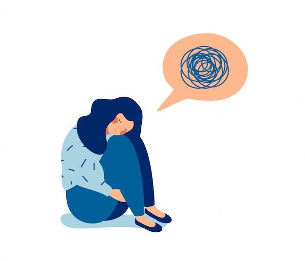 Vrouw in depressie met verbijsterde gedachten in haar gedachten