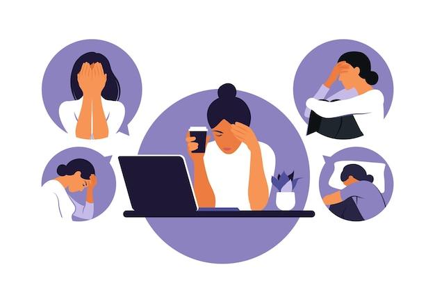 Vrouw in depressie met verbijsterde gedachten in haar hoofd. jong verdrietig meisje zit op laptop. vector illustratie. platte stijl
