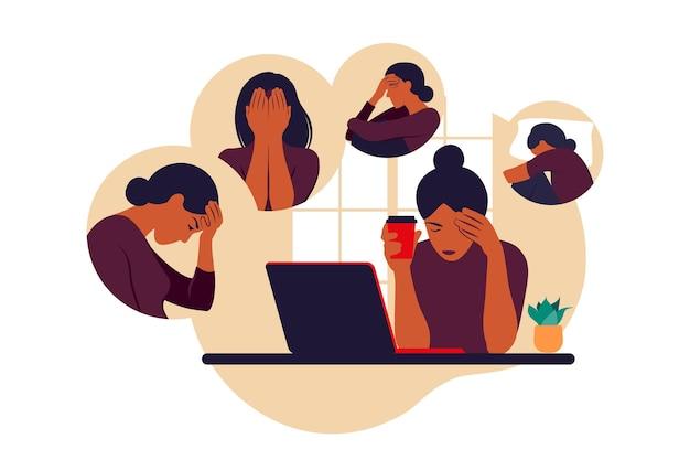 Vrouw in depressie met verbijsterde gedachten in haar hoofd. jonge droevige meisjeszitting bij laptop. vector illustratie. platte stijl