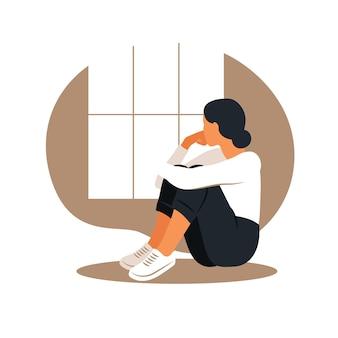 Vrouw in depressie met verbijsterde gedachten in haar hoofd
