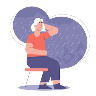Vrouw in depressie met verbijsterde gedachten