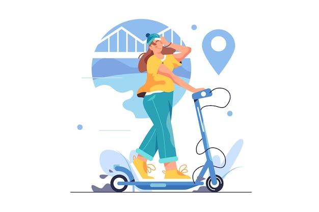 Vrouw in een hoed rijdt op een elektrische scooter door de stad, grote blauwe pin geïsoleerd
