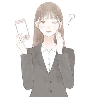 Vrouw in een pak met een smartphone en een twijfel. op witte achtergrond.