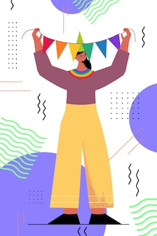 Vrouw in feestelijke hoed die transgender liefdesparade viert lgbt-gemeenschapsconcept verticaal
