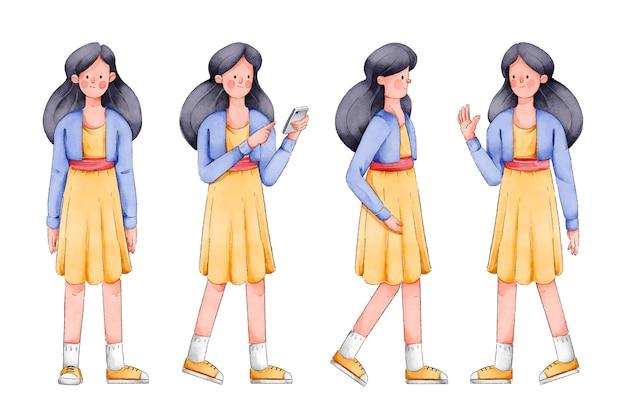 Vrouw in gele jurk karakter vormt