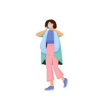 Vrouw in gezichtsmasker plat ontwerp kleur gezichtsloos karakter