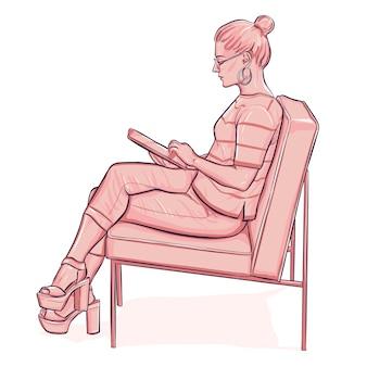 Vrouw in glazen werken op tablet zitten in fauteuil