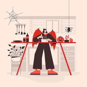 Vrouw in halloween-kostuum die een eng diner voorbereidt
