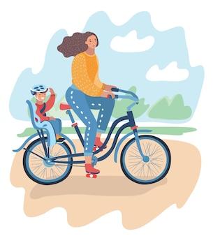 Vrouw in helm met een fiets, fiets met meisje achter babyzitje, moeder en dochter, gestileerde platte vectorillustratie geïsoleerd op witte achtergrond