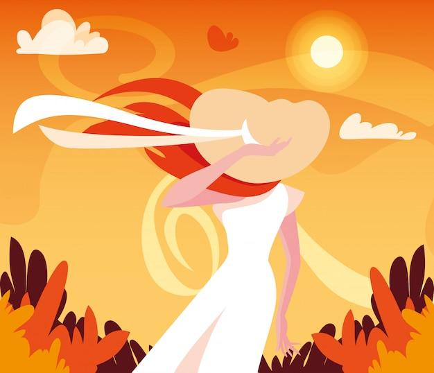 Vrouw in herfst vectorontwerp