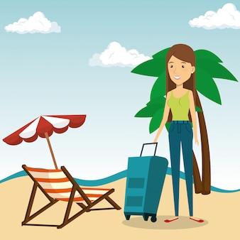 Vrouw in het strandkarakter