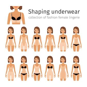 Vrouw in het vormen van lingerie