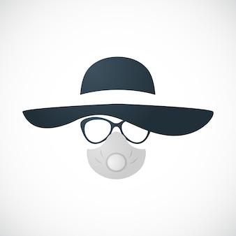 Vrouw in hoed bril en gasmasker