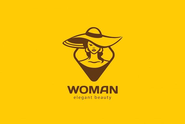 Vrouw in hoed logo vector vintage pictogram.