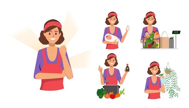 Vrouw in huisvrouw karakter en moeder en meid huis routine.