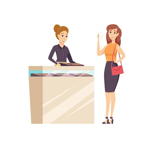 Vrouw in juwelierszaak met consultant