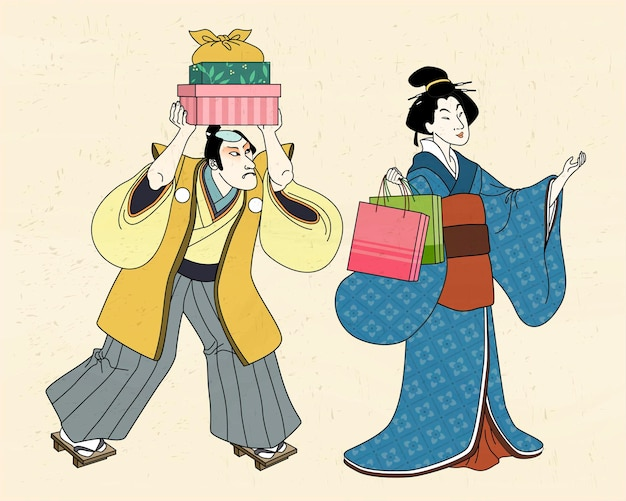 Vrouw in kimono winkelen met haar bediende, ukiyo-e stijl