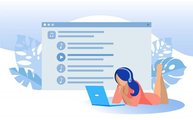Vrouw in koptelefoon luisteren muziek op laptop
