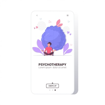 Vrouw in lotus houding mediteren psychologische problemen oplossen psychotherapie stress verslavingen mentale problemen concept