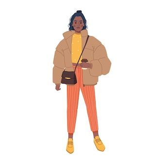 Vrouw in modieuze stedelijke outfits stijlvolle tas oversized jas en oranje broek geïsoleerd plat