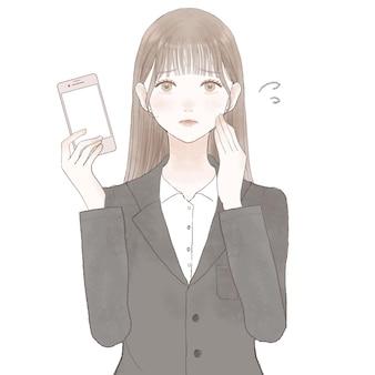 Vrouw in onrustig pak met smartphone. op witte achtergrond.