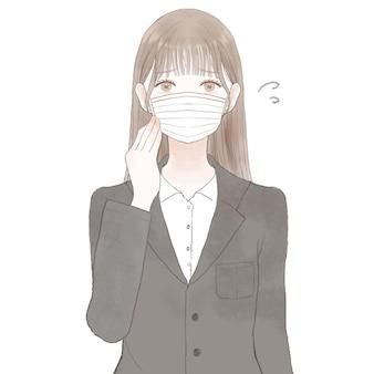 Vrouw in pak die last heeft van het dragen van een masker. op witte achtergrond.