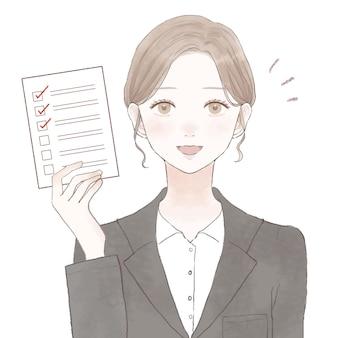 Vrouw in pak met checklist. op een witte achtergrond.