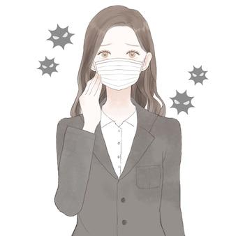 Vrouw in pak met niet-geweven masker. op witte achtergrond.