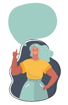 Vrouw in pak met tekstballon