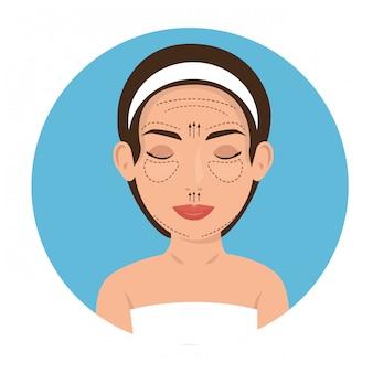 Vrouw in plastische chirurgieproces