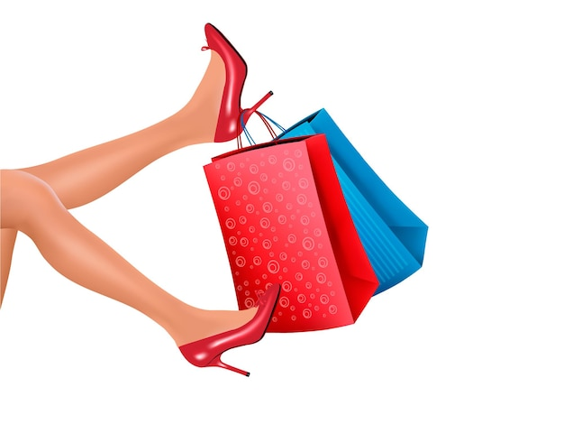 Vrouw in rode hoge hakken met rode boodschappentassen.