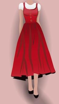 Vrouw in rode jurk zwarte hoge hakken en witte blouse eronder
